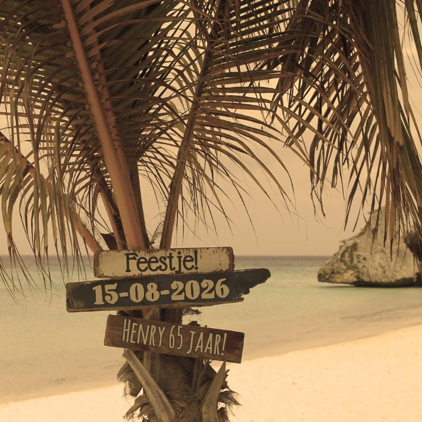 Uitnodigingen - Zomerse kaart strand palmboom 4k