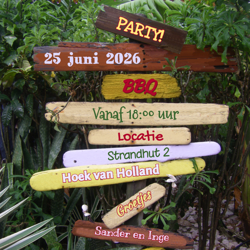 Uitnodigingen - Zomerse uitnodiging drijfhout 4k