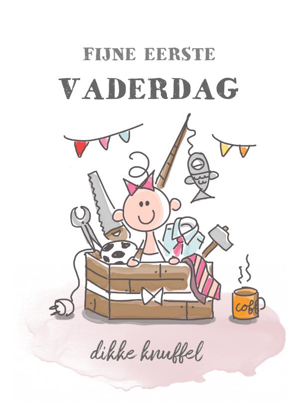 Vaderdag kaarten - Eerste vaderdagkaart met meisje in kist met kado's voor papa