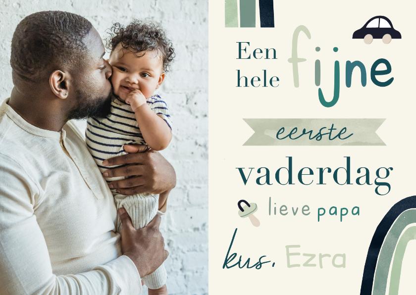 Vaderdag kaarten - Eerste vaderdagkaart regenboog typografisch en foto