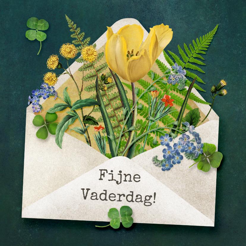 Vaderdag kaarten - Fijne vaderdag, envelop gevuld met bloemen en planten