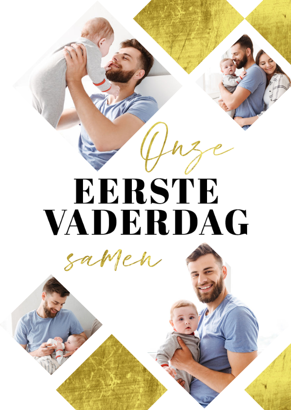 Vaderdag kaarten - Fotokaart vaderdag eerste vaderdag papa goud stijlvol
