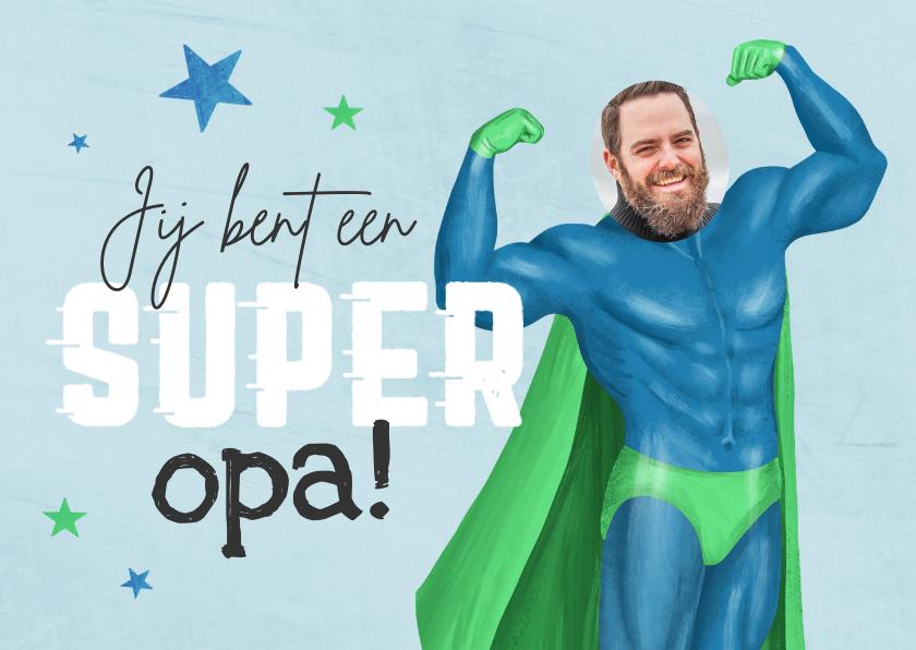 Vaderdag kaarten - Grappige vaderdagkaart opa superheld foto humor