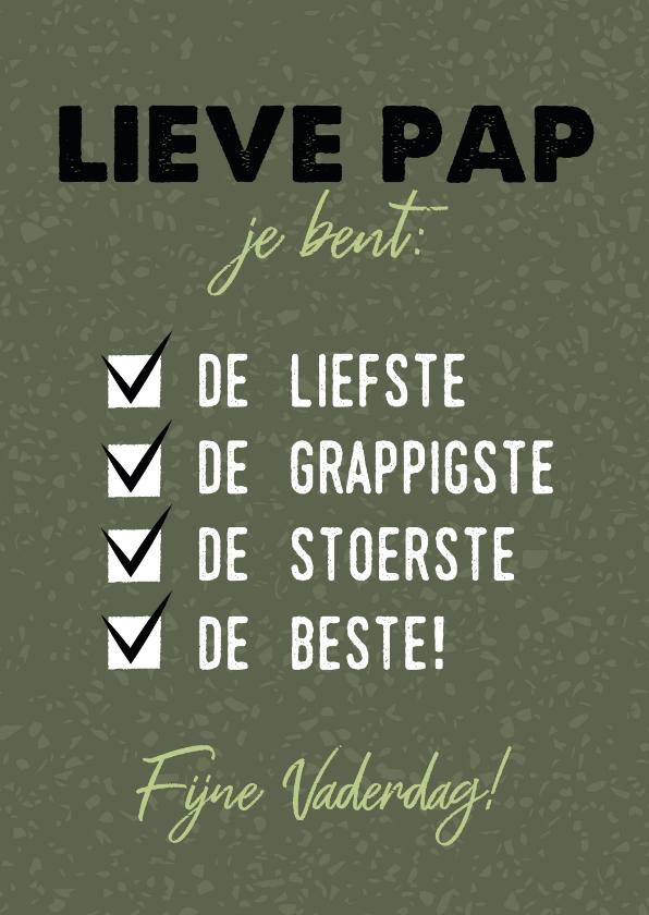 """Vaderdag kaarten - Hippe vaderdag kaart """"lieve pap je bent de beste!"""""""
