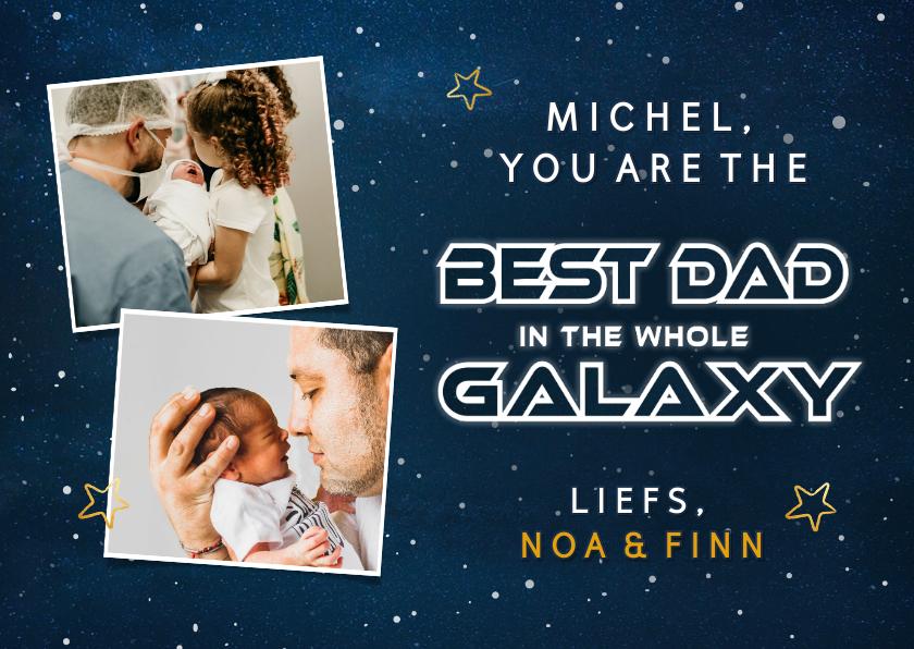 Vaderdag kaarten - Hippe vaderdagkaart met ruimte thema best dad in the galaxy