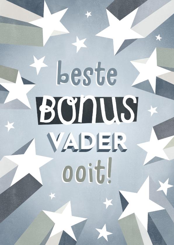 Vaderdag kaarten - Leuke bonusvader Vaderdag kaart met sterren en typografie