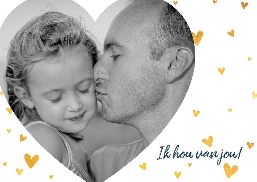 Vaderdag kaarten - Lieve vaderdagkaart met grote hartjes foto en hartjes