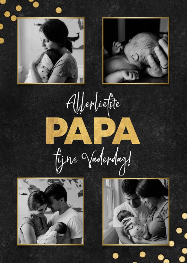 Vaderdag kaarten - Stijlvolle vaderdag kaart fotocollage, zwart met gouden papa