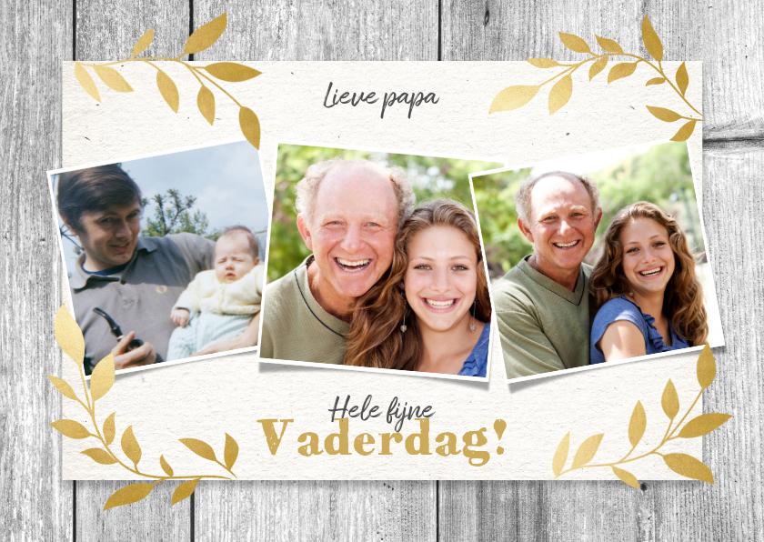 Vaderdag kaarten - Stijlvolle vaderdag kaart net hout, gouden plantjes & foto's