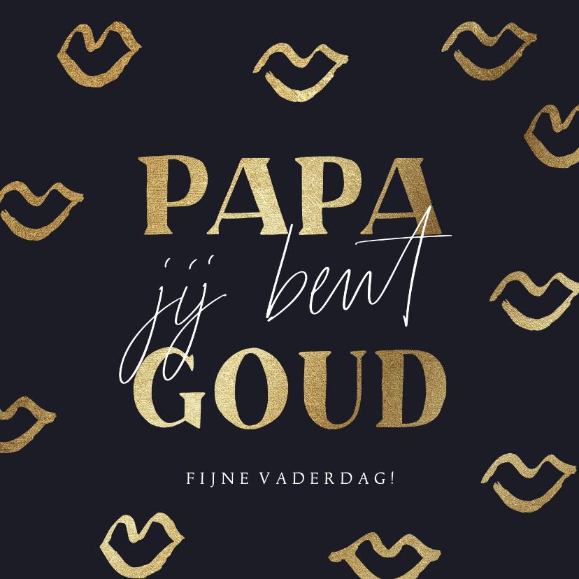 Vaderdag kaarten - Stijlvolle vaderdagkaart met gouden kusjes en quote