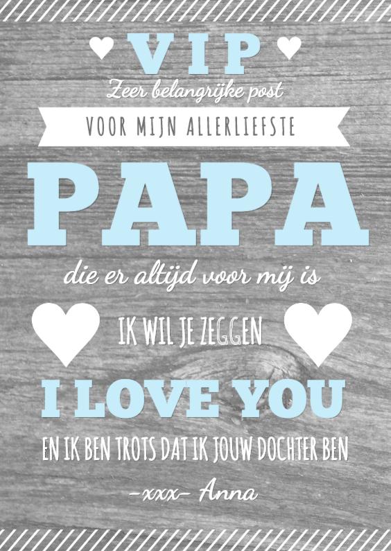Vaderdag kaarten - Vaderdag affiche hout tekst hartjes