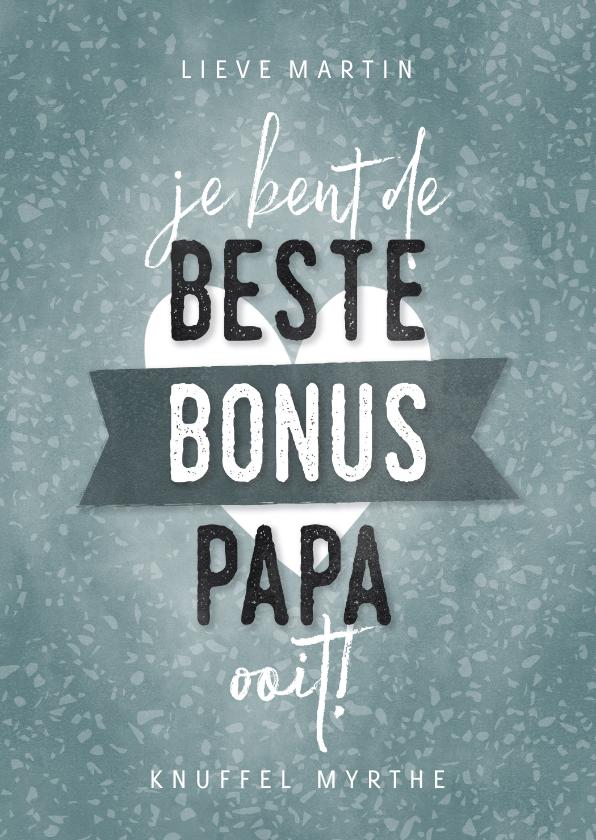 Vaderdag kaarten - Vaderdag kaart beste bonus papa met hartje en banner