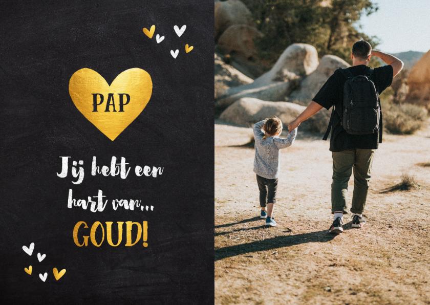 Vaderdag kaarten - Vaderdag kaart je hebt een hart van goud foto krijtbord