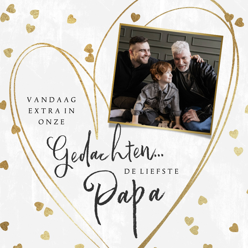 Vaderdag kaarten - Vaderdag kaart voor een overleden vader met hartjes in goud