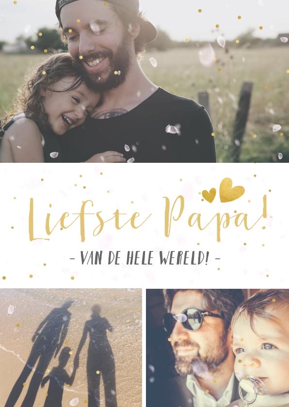 Vaderdag kaarten - Vaderdag vrolijke fotocollagekaart met 3 foto's en glitters