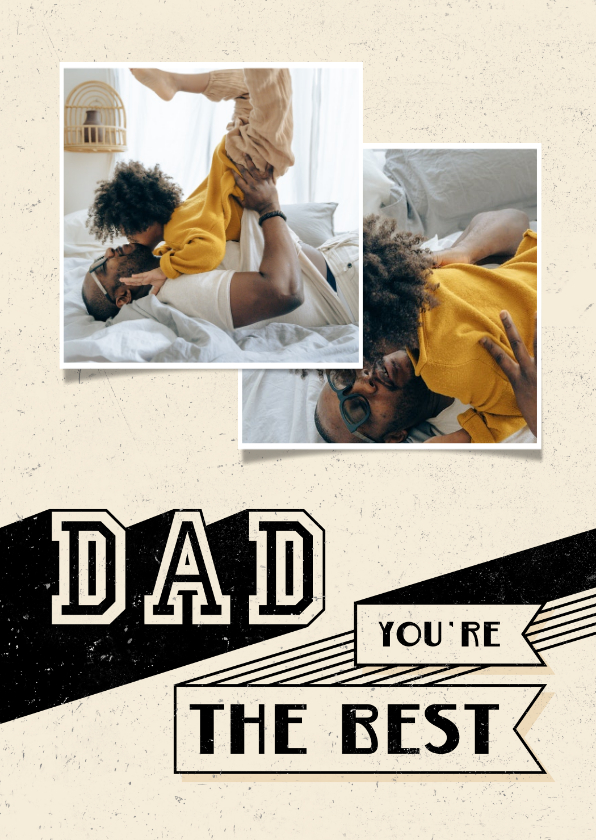 Vaderdag kaarten - Vaderdagkaart 2 foto's DAD you're the best retro