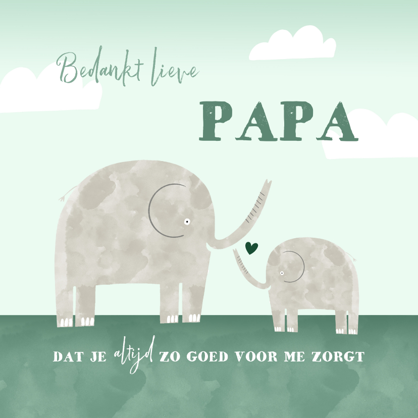 Vaderdag kaarten - Vaderdagkaart bedankt lieve papa kind olifantjes waterverf