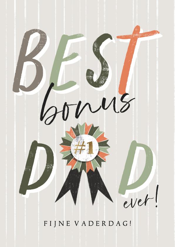 Vaderdag kaarten - Vaderdagkaart 'Best Bonus Dad' met lint en verticale lijnen
