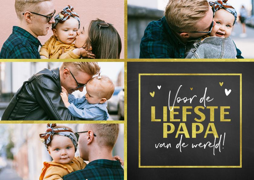 Vaderdag kaarten - Vaderdagkaart fotocollage goud en krijtbord look