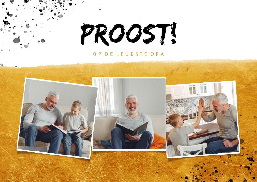 Vaderdag kaarten - Vaderdagkaart fotocollage proost op de leukste opa