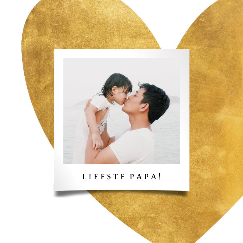 Vaderdag kaarten - Vaderdagkaart gouden hart met foto