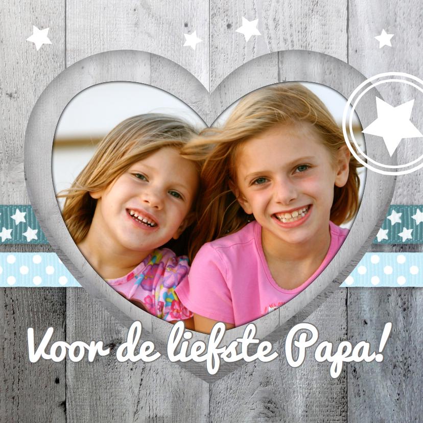 Vaderdag kaarten - Vaderdagkaart Hart Hout Lintjes