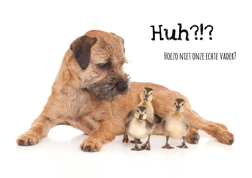 Vaderdag kaarten - Vaderdagkaart - Hond met kuikens - Stiefvader