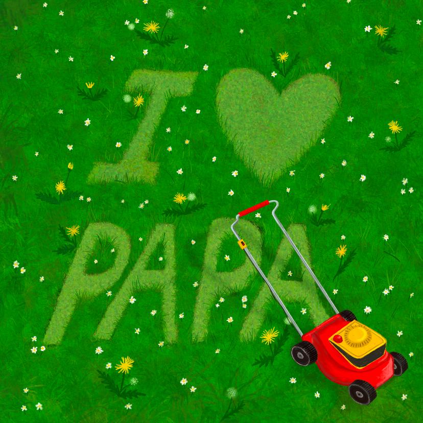 Vaderdag kaarten - Vaderdagkaart I love papa in gras gemaaid