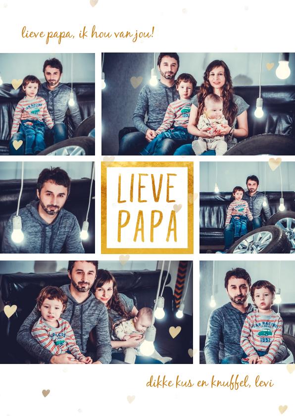 Vaderdag kaarten - Vaderdagkaart 'lieve papa' met 6 foto's