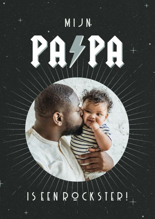 Vaderdag kaarten - Vaderdagkaart met foto mijn papa is een rockster