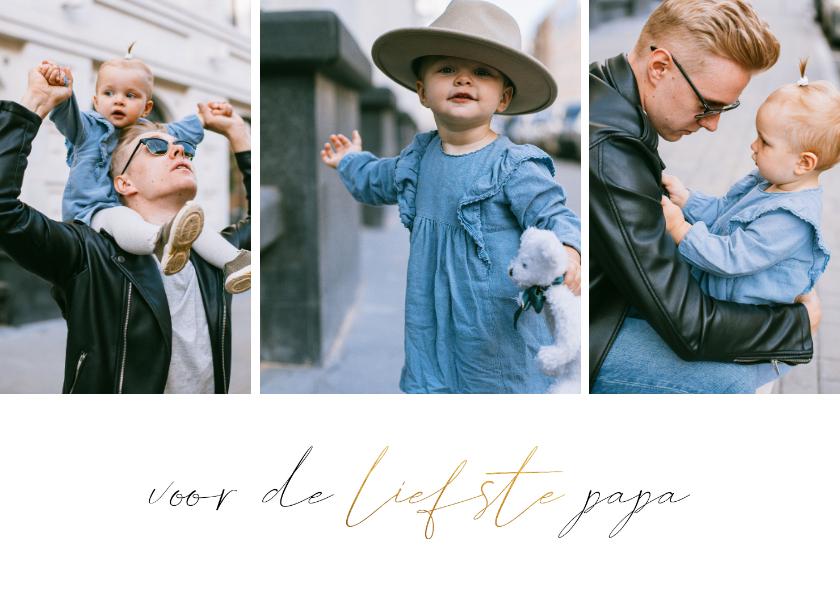 Vaderdag kaarten - Vaderdagkaart met fotocollage en gouden accent