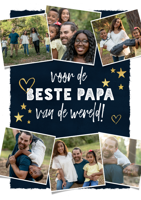 Vaderdag kaarten - Vaderdagkaart met fotocollage, typografie, sterren & hartjes
