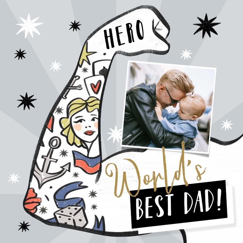 Vaderdag kaarten - Vaderdagkaart met geïllustreerde arm met tattoo's