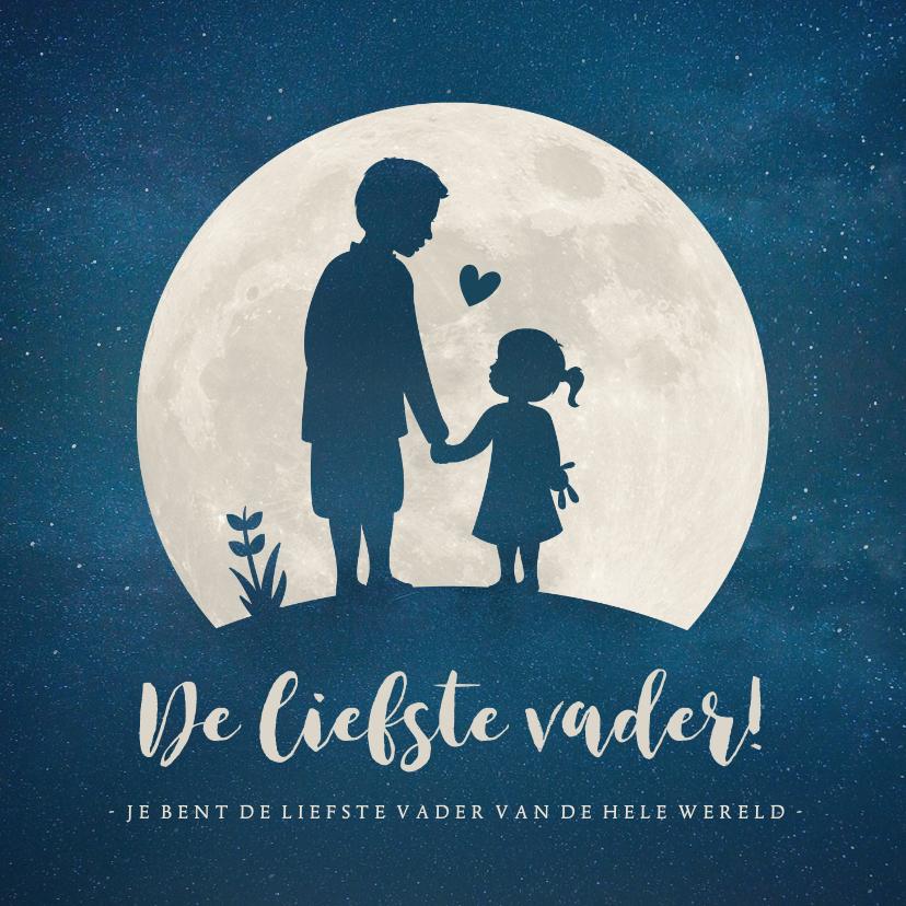 Vaderdag kaarten - Vaderdagkaart met silhouet van vader en dochter in maan