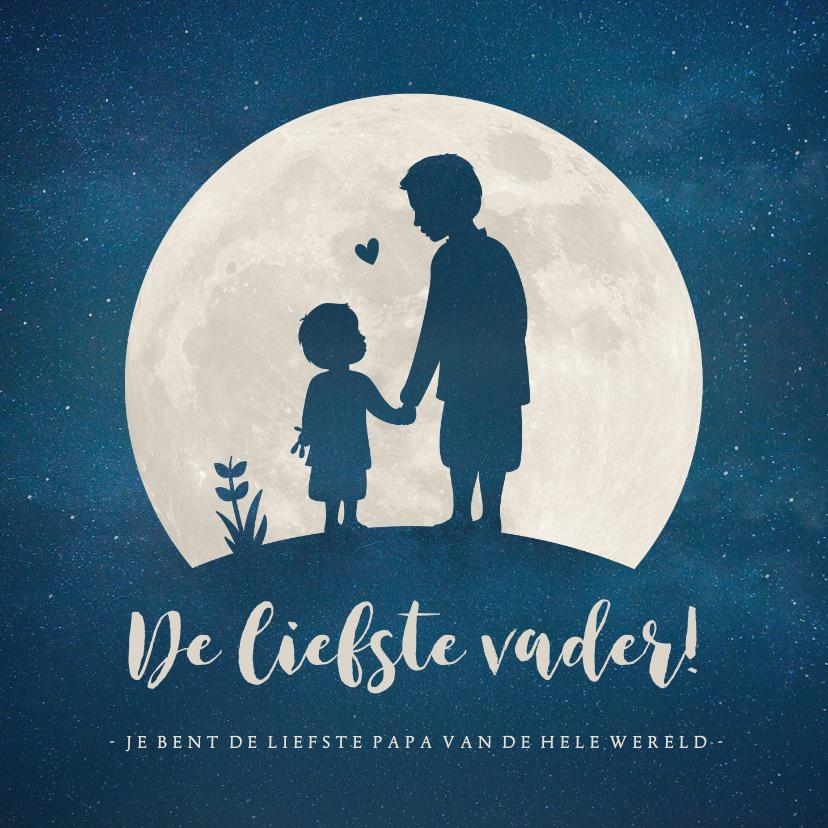 Vaderdag kaarten - Vaderdagkaart met silhouet van vader en zoon in volle maan