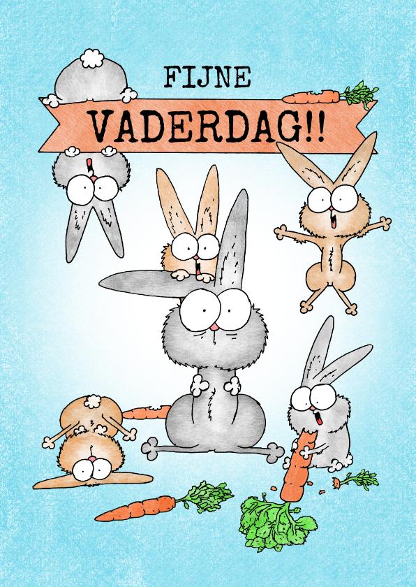 Vaderdag kaarten - Vaderdagkaart met vader konijn en veel vrolijke konijntjes