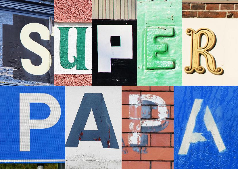 Vaderdag kaarten - Vaderdagkaart superpapa letters
