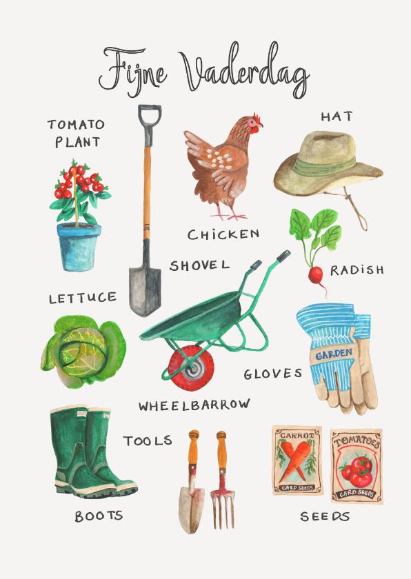 Vaderdag kaarten - Vaderdagkaart tuinieren