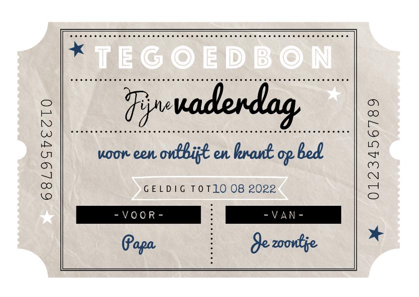 Vaderdag kaarten - Vaderdagkaart vintage tegoedbon en typografie sterren