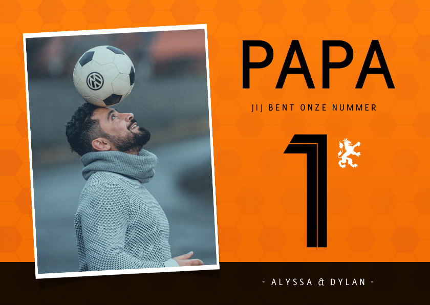 Vaderdag kaarten - Vaderdagkaart voetbalshirt Nederlands elftal met foto