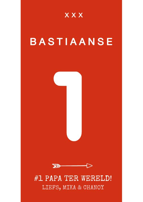 Vaderdag kaarten - Vaderdagkaart voetbalshirt rood wit met naam