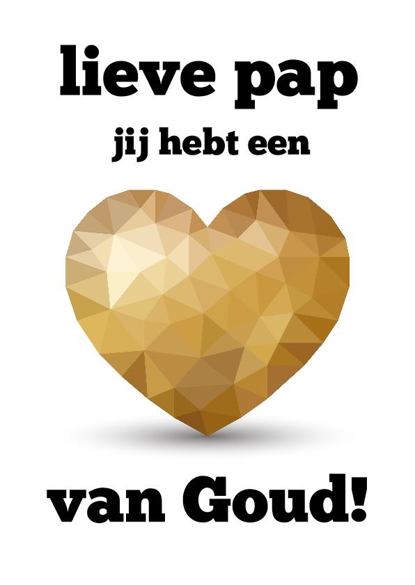 Vaderdag kaarten - Vaderdagkaart voor vader met een gouden hart