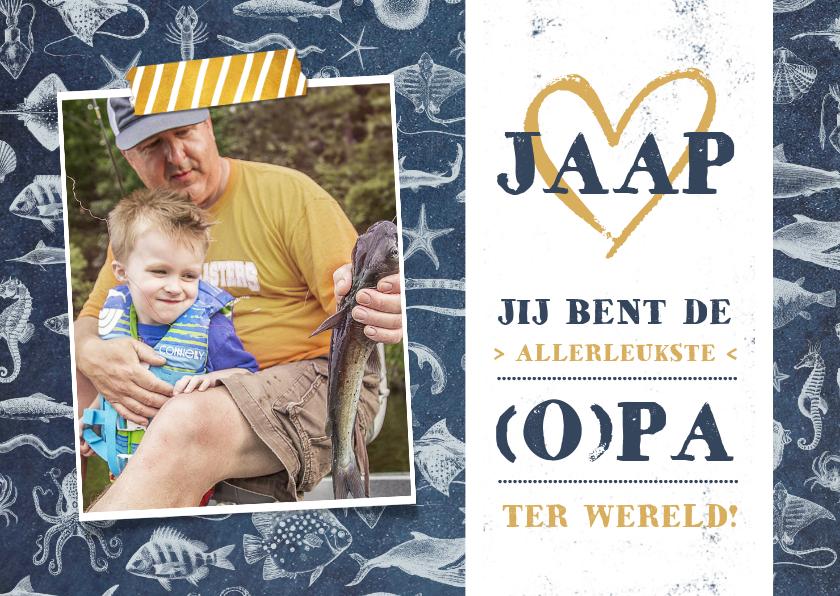 Vaderdag kaarten - Vaderdagkaart voor vader of opa met vissen thema