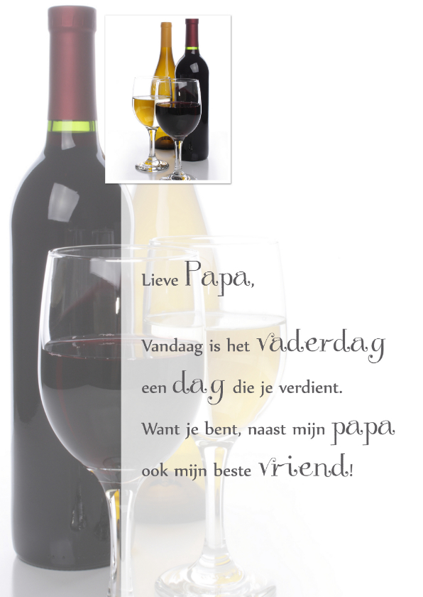Vaderdag kaarten - Vaderdagkaart wijnglas