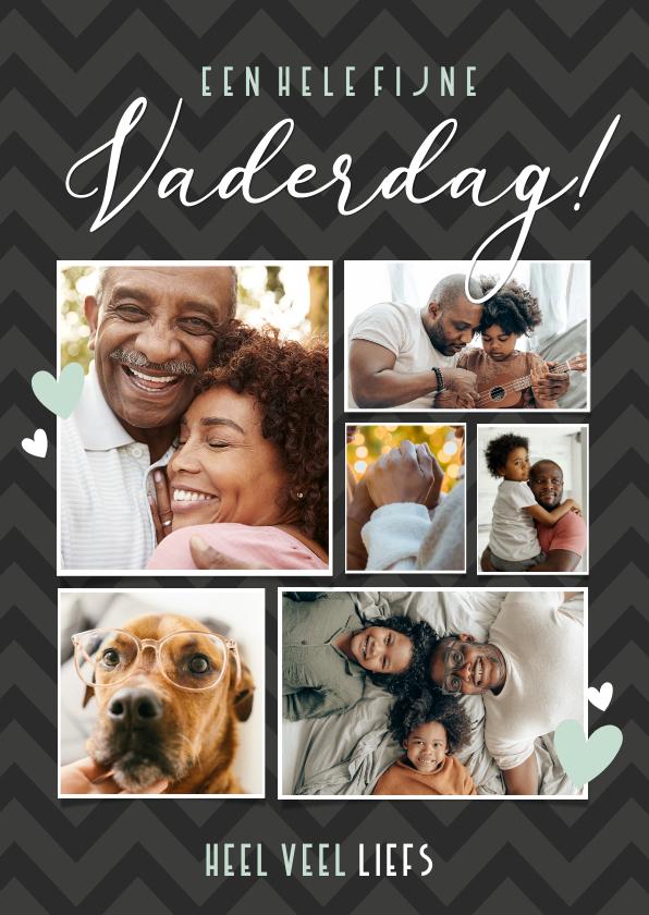Vaderdag kaarten - Zwarte fotocollage vaderdagkaart met 6 eigen foto's