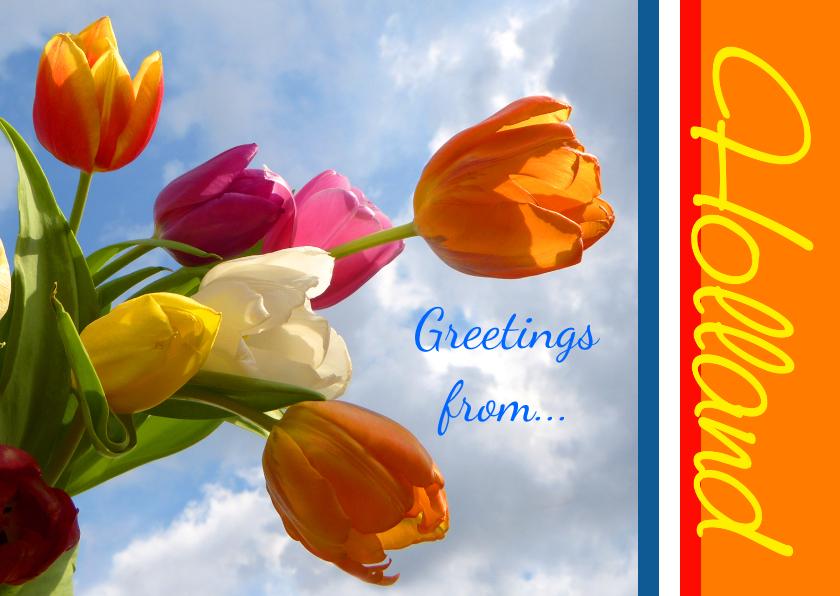 Vakantiekaarten - Ansicht Holland Greeting Tulips