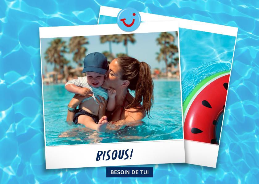 Vakantiekaarten - Carte de vacances avec bisous de et votre photo - eau
