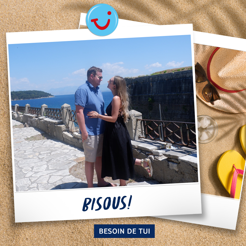 Vakantiekaarten - Carte de vacances avec votre photo et bisous de - plage