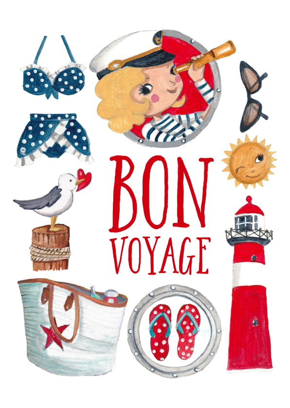 Vakantiekaarten - Fijne vakantie bon voyage franse strand vakantie