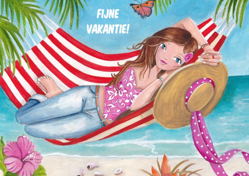 Vakantiekaarten - Fijne Vakantie Hangmat Illustratie